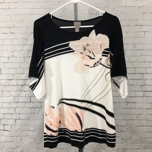 Chico's black pink floral lily sweater 3/4 sleeve